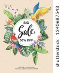 tropical hawaiian sale poster... | Shutterstock .eps vector #1340687543