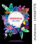 tropical hawaiian flyer with... | Shutterstock .eps vector #1340687570