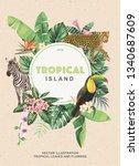 tropical hawaiian design with... | Shutterstock .eps vector #1340687609