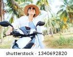 happy smiling traveller woman... | Shutterstock . vector #1340692820