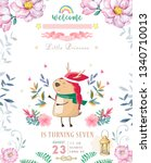 cute happy birthday card with... | Shutterstock . vector #1340710013