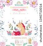 cute happy birthday card with... | Shutterstock . vector #1340710016