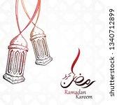 arabic calligraphy of ramadan...   Shutterstock .eps vector #1340712899