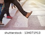 man taking the step  onto zebra ... | Shutterstock . vector #134071913
