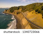 Small photo of Pacific Coast Highway 101 in Oregon near Port Orford and Humbug Mountain, taken from the air with a drone
