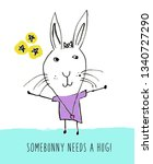 cute bunny drawing background....   Shutterstock . vector #1340727290