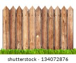 Wooden Fence And Grass Isolated ...