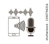 smartphone with voice assistant ... | Shutterstock .eps vector #1340746316