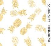 metallic cream gold pineapple... | Shutterstock .eps vector #1340758400