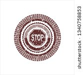 red stop icon inside distress...   Shutterstock .eps vector #1340758853