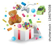 Various toys burst from present box in white background, create by vector