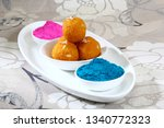 gulal or face powder with... | Shutterstock . vector #1340772323