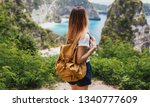 traveling  girl with backpack...   Shutterstock . vector #1340777609