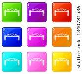 metal bridge icons set 9 color...   Shutterstock .eps vector #1340781536