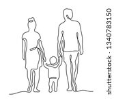 family continuous line vector... | Shutterstock .eps vector #1340783150