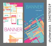 set of colorful banners with...