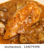 Chicken chasseur or 'Hunter's Chicken', a traditional French dish. - stock photo