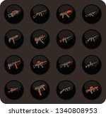 hand weapons color vector icons ... | Shutterstock .eps vector #1340808953