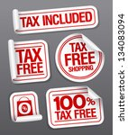 tax free shopping stickers set. | Shutterstock .eps vector #134083094