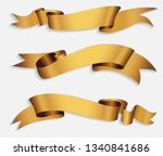 realistic gold ribbons.golden... | Shutterstock .eps vector #1340841686