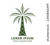 palm tree logo. resort and spa... | Shutterstock .eps vector #1340846399
