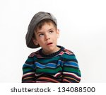 a 5 year old boy making a silly ... | Shutterstock . vector #134088500