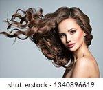 beautiful  woman with long... | Shutterstock . vector #1340896619