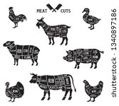 meat cuts set. diagrams for... | Shutterstock .eps vector #1340897186