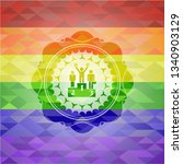 business competition, podium icon on mosaic background with the colors of the LGBT flag