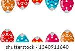 frame of colorful easter eggs | Shutterstock .eps vector #1340911640
