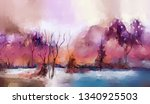 oil painting colorful autumn... | Shutterstock . vector #1340925503