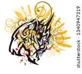 colorful splattered aggressive... | Shutterstock .eps vector #1340947319