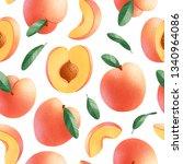peaches seamless pattern on...   Shutterstock . vector #1340964086