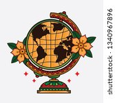 traditional flash globe tattoo  ... | Shutterstock .eps vector #1340967896