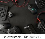 gamer workspace concept  top... | Shutterstock . vector #1340981210