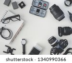 top view of work space... | Shutterstock . vector #1340990366