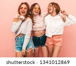three young beautiful smiling... | Shutterstock . vector #1341012869