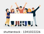 group of people holding placard ...   Shutterstock .eps vector #1341022226