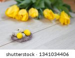 easter background with easter... | Shutterstock . vector #1341034406