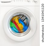 colorful clothes rotating in... | Shutterstock . vector #1341041120