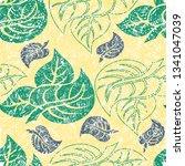vector seamless floral grunge... | Shutterstock .eps vector #1341047039