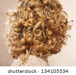 beautiful female curly blond ... | Shutterstock . vector #134105534