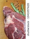 fresh slice of raw marbled... | Shutterstock . vector #1341057620