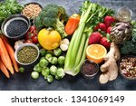 healthy organic food on dark... | Shutterstock . vector #1341069149