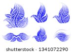vector set of grunge floral ... | Shutterstock .eps vector #1341072290