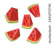watermelon vector set of red... | Shutterstock .eps vector #1341072740