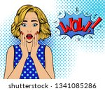 surprised woman with speech... | Shutterstock .eps vector #1341085286