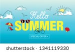 hello summer sale hand drawn... | Shutterstock .eps vector #1341119330