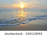 sea wave on the beach at... | Shutterstock . vector #134113043