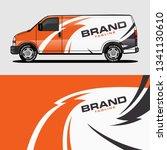 car livery orange van wrap... | Shutterstock .eps vector #1341130610
